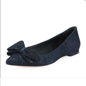 Tory Burch Rosalind suede bow pointy toe flats